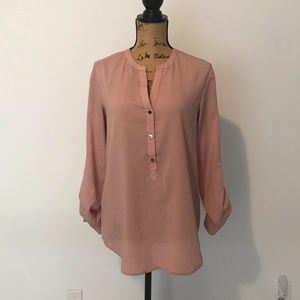 Pink 3/4 sleeve half button down blouse size S